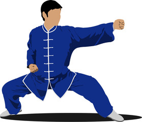 Wushu. KongFu.The sportsman in a position. Oriental combat sport