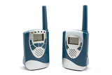 Two  blue walkie-talkie isolated on white background poster