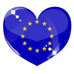 Vector heart with Europe flag texture