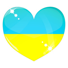 Vector heart with Ukraine flag texture