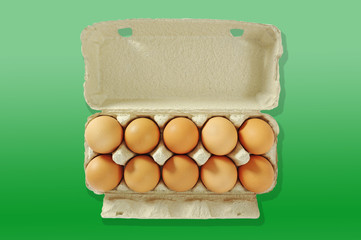 Ten eggs in the grey box.