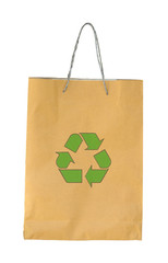 Recycle paper bag with recycle symbol on white background