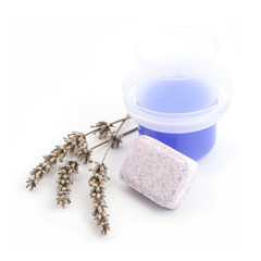Water softening tablet with purple liquid detergent and lavender