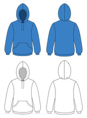 Template vector illustration of a blank hooded sweater