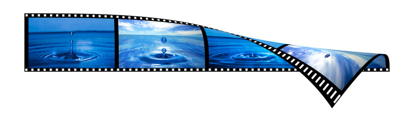 Film strip with water splashing