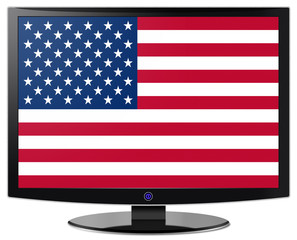 Flatscreen With US Flag