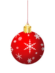 RED CHRISTMAS BAUBLE (merry xmas tree decorations icon 3d happy)