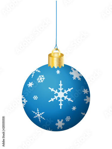 BLUE CHRISTMAS BAUBLE (merry xmas tree decorations icon happy)