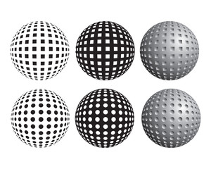 Set of spheres dotted with circles and squares