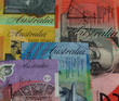 Closeup of various Australian bank notes with Australia showing