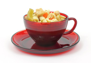 Cup of chicken rotini pasta soup