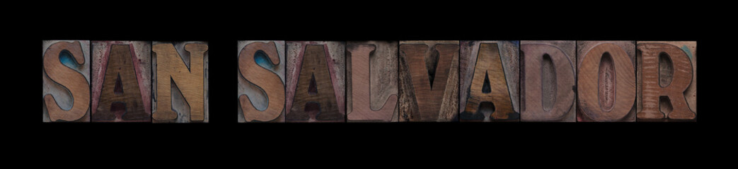 the words San Salvador in old letterpress wood type