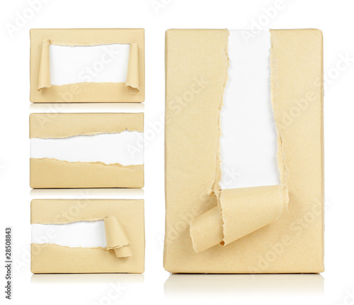 Brown paper box torn