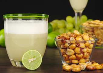 Peruvian Cocktail (Pisco Sour) and Roasted Corn