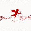 """Flying Cupid & Hearts """"Be my valentine"""""""