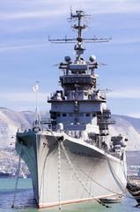 Battleship docked at a harbor of Novorossiysk, Russia