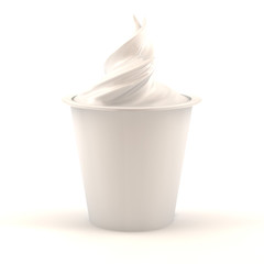 vanilla yogurt jar isolated over white background