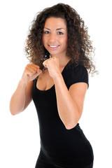 Sportlerin in Boxhaltung