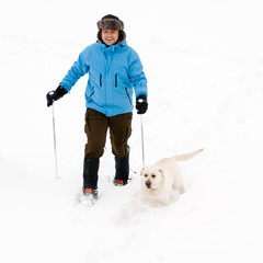 Snowshoeing with dog