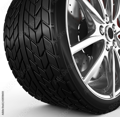 Tire with alloy wheel - 3d render