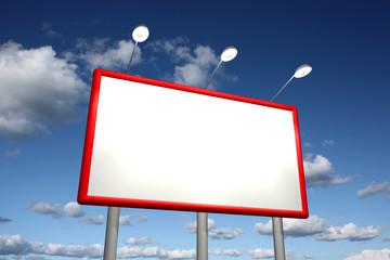 Empty billboard with sky background
