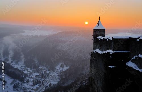 Festung Königstein im Sonnenuntergang