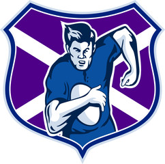 rugby player running ball scotland shield