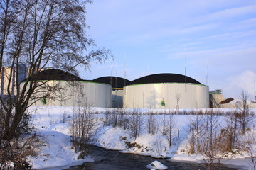 biogas plant in winter