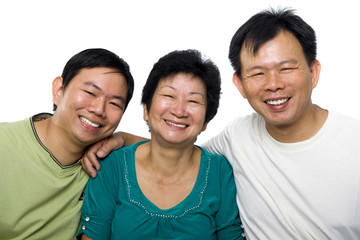 Senior mother and adult sons