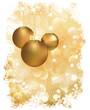 New Year greeting card with christmas golden balls. vector