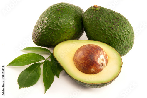 Ripe Organic Avocado on white background