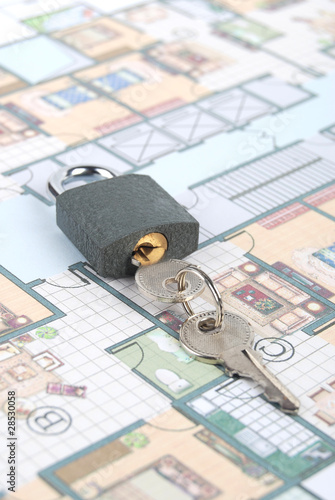 Padlock and blueprint