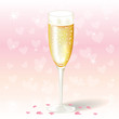 Glass of valentine's day champagne