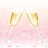 Glasses of valentine's day champagne