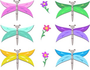 Mix of Flowers and Stylized Dragonflies