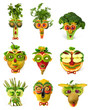 Fruit and vegetables faces set