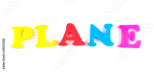 plane written in fridge magnets isolated on white