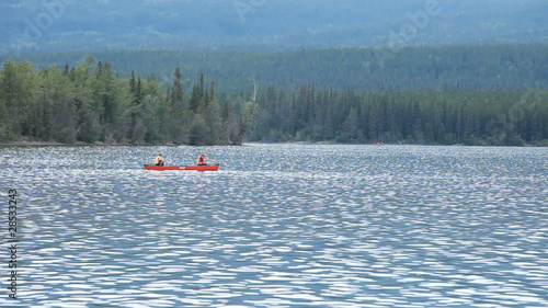 Canoe fishing forest lake P HD 0149