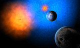 water planet of aliens in system of two suns
