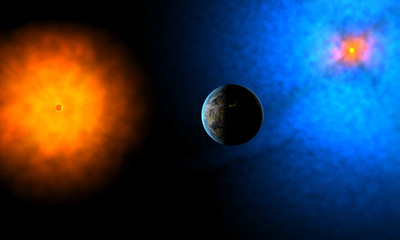 Strange planet of aliens in system of two suns