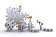 Business team building a puzzle. Buuilding business concept.