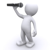 Fototapety 3d singer with microphone