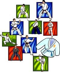 Oriental combat sports - vector set.