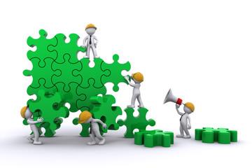 Business work building a puzzle. Buuilding business concept.