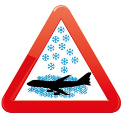 Warning sign about snowfalls, vector illustration