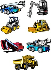 Seven multi-coloured building cars.Construction machinery.