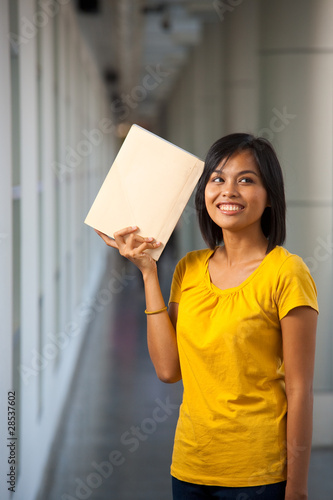 Smiling Beautiful College Student Book Head