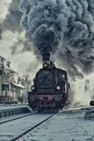 Fototapety Dampflok im Schnee - Bahnhof