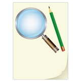 list papíru, tužka a lupa