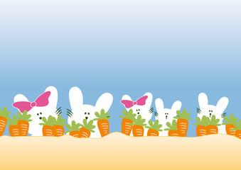 rabbit family with carrots